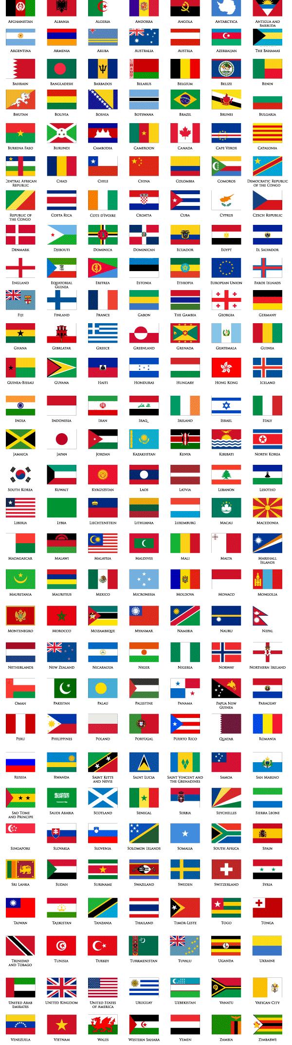 world flags list